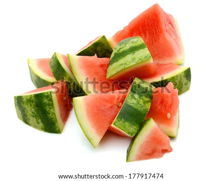 Pieces of sliced watermelon on white background - stock photo