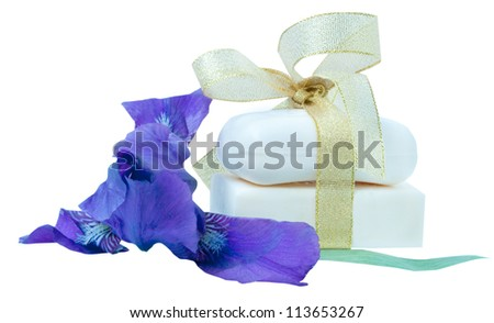 pieces of soap with flowers isolated on white background