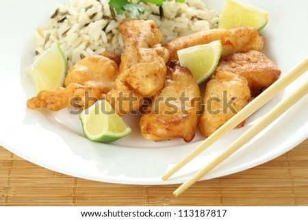 Pieces of sole fish with rice and pieces of lemon