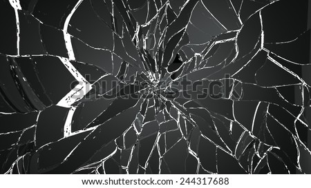 Pieces of splitted or cracked glass isolated on white. Large resolution - stock photo