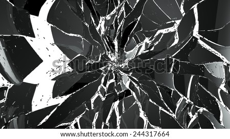 Pieces of splitted or cracked glass on white background. Large resolution - stock photo