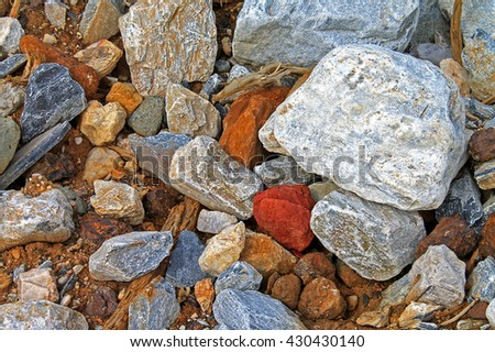 Pieces of Stone Rock Rubble Texture - Stock Image