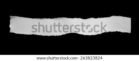 Pieces of torn paper on black. Copy space - stock photo