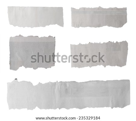 Pieces of torn paper on plain background - stock photo