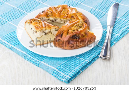 Pieces of wicker pie with chicken in plate table knife on blue napkin on wooden & Pieces Wicker Pie Chicken Plate Table Stock Photo 1026783253 ...
