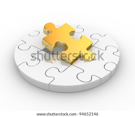 Pieces puzzle ( jigsaw). 3d render illustration - stock photo