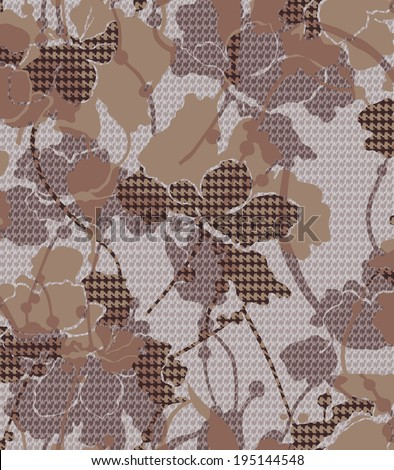 Pied de poule and flowers patterned fabric design. - stock photo