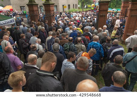Piekary Slaskie, Poland, May 29, 2016 .: The annual gala men and youths Pilgrimage to Our Lady of Piekary Slaskie. Men at a ceremony at the Calvary hill.