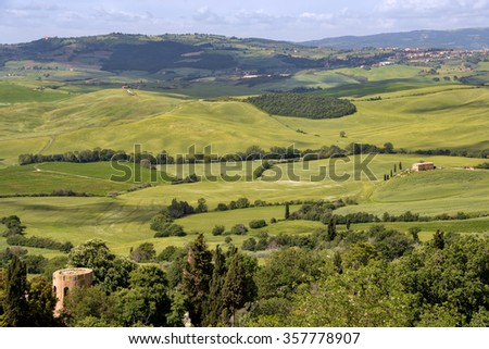 PIENZA, TUSCANY/ITALY - MAY 18 : Countryside of Val d'Orcia near Pienza in Italy on May 18, 2013