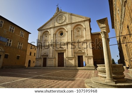 Pienza - Tuscany, Italy- square of the cathedral - stock photo