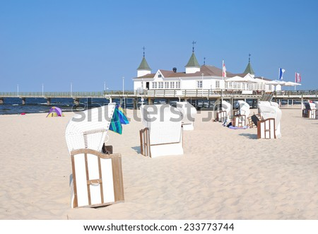 Pier and Beach of Ahlbeck on Usedom Island,Baltic Sea,Mecklenburg-Vorpommern,Germany - stock photo
