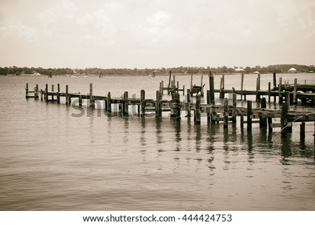 Pier and Boat Docks destroyed by Hurricane Katrina in Biloxi, Mississippi