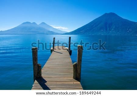 Pier at Lake Atitlan in Guatemala - stock photo
