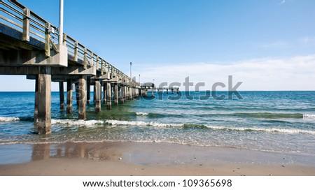 Pier. Beach at Coney Island, New York City. - stock photo