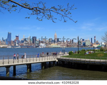 Pier C Park in Hoboken with the Manhattan Skyline in the background - stock photo