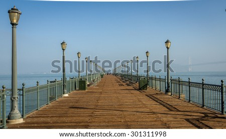 Pier 7 in along the Embarcadero in San Francisco - stock photo