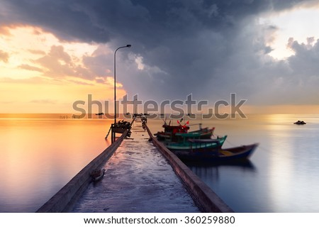 Pier in fishing village - Phu Quoc island, Vietnam - stock photo