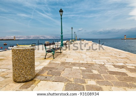 Pier in Mediterranean Town Senj in Croatia - stock photo