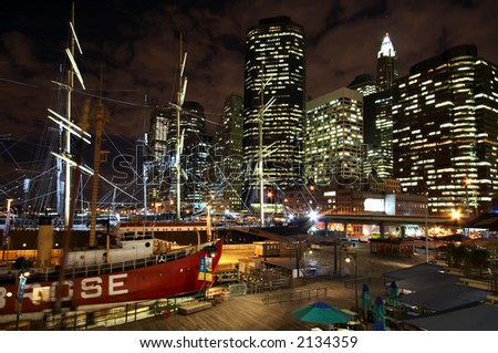 Pier 17 in New York City At Night - stock photo