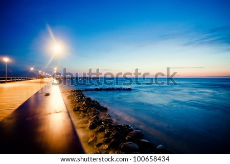 Pier in Palanga on Baltic sea - stock photo