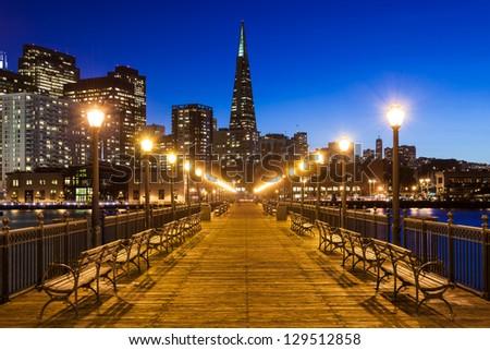 Pier 7 in San Francisco at night. - stock photo