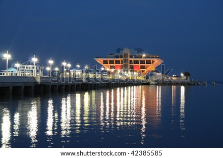 Pier in St Petersburg at night, Florida USA - stock photo