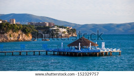Pier in the adriatic sea on the coast of Albania