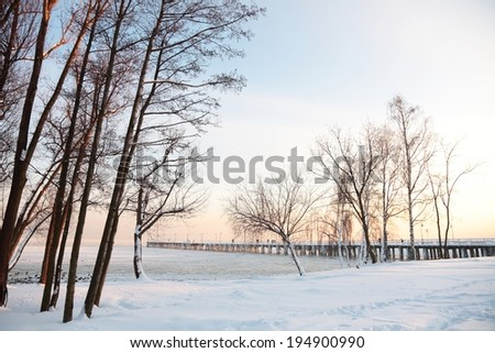 Pier, jetty  on the sea - ice - floe. Poland, Gdynia - stock photo