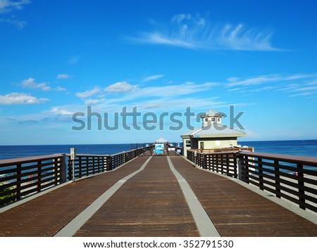 pier of florida beach - stock photo