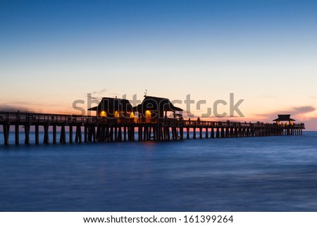 Pier of Naples at twilight, Florida, USA - stock photo