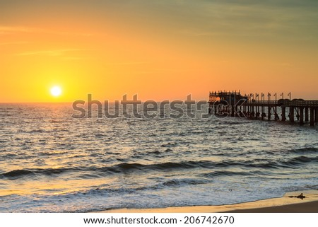 Pier of Swakopmund at sunset, Namibia, Africa - stock photo