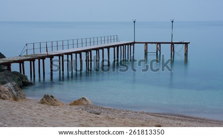 pier on black sea - stock photo