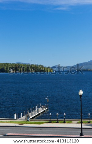 Pier on Lake George, New York state, USA - stock photo
