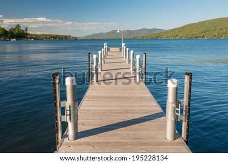 Pier on Lake George, NY, USA - stock photo