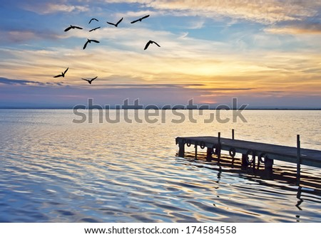 pier on the ocean color - stock photo