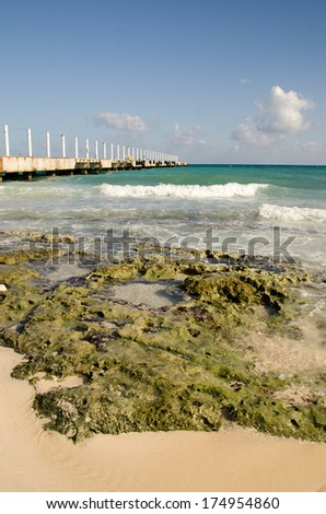 Pier, playa del carmen. Mayan riviera Quintana Roo, Mexico. - stock photo