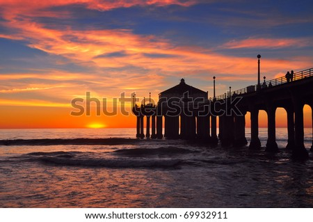 Pier silhouette - stock photo
