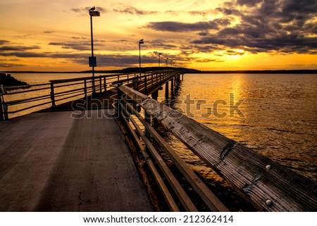 Pier Sunset. - stock photo