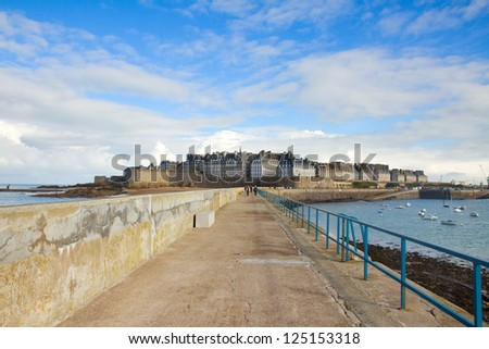 pier to old town 'Intramuros' of  Saint Malo, Brittany, France - stock photo
