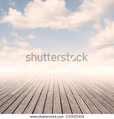 pier with sky on sunset - stock photo