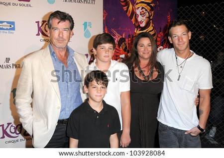 Pierce Brosnan with Keely Shaye Smith and family at Cirque Du Soleil's 'Kooza' Opening Night Gala. Santa Monica Pier, Santa Monica, CA. 10-16-09 - stock photo
