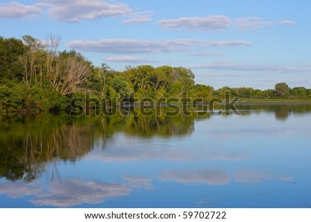 Pierce Lake at Rock Cut State Park in northern Illinois - stock photo