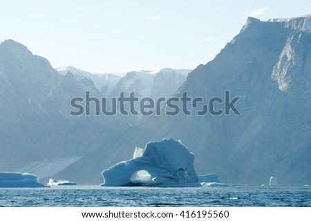 Piereced Iceberg - Scoresby Sound - Greenland - stock photo