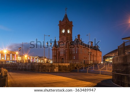 Pierhead Building, a Grade One listed building of the National Assembly for Wales in Cardiff Bay, Wales. One of Cardiff's landmarks. (Twilight Shot)