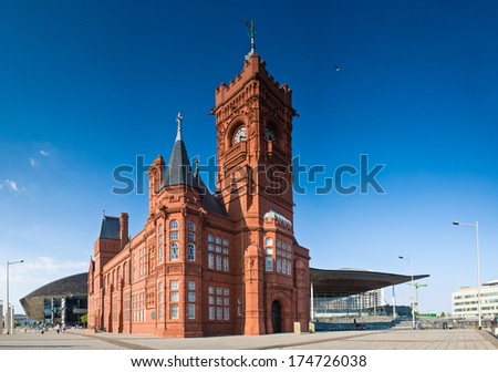 Pierhead building (1897) familiar landmark of the stunning Cardiff Bay. Millennium Centre and Welsh Assembly building behind.