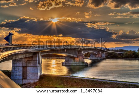 Pierre Pflimlin motorway bridge over the Rhine between France and Germany - stock photo
