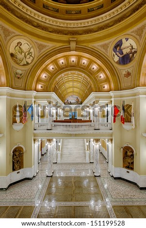 PIERRE, SOUTH DAKOTA - JULY 25: The grand staircase and rotunda of the South Dakota State Capitol on July 25, 2013 in Pierre, South Dakota