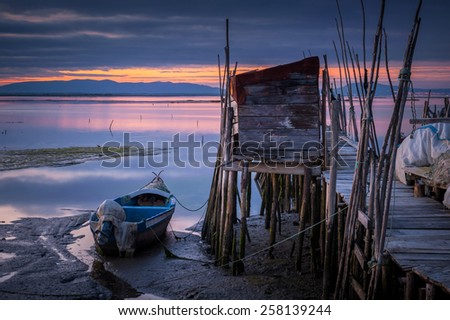 Piers in Carrasqueira, Portugal - stock photo