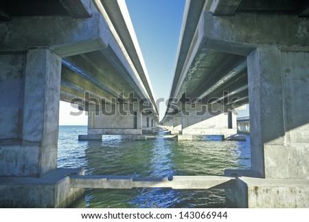 Piers of the Tampa Sunshine Skyway Bridge, Tampa Bay, Florida - stock photo