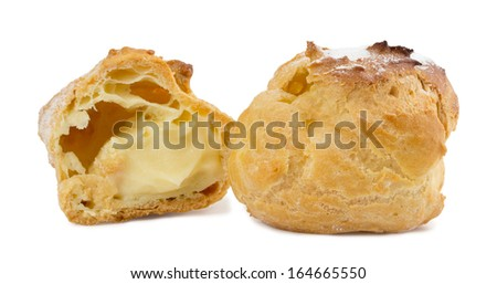 pies with cream on a white background - stock photo